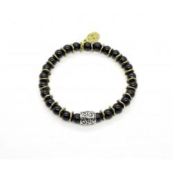 Bracelet mini Onyx noir et perle ciselée