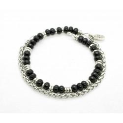 Bracelet Onyx brillant et chaine de blé