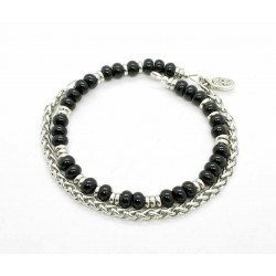 Shiny Onyx and Wheat Chain Bracelet