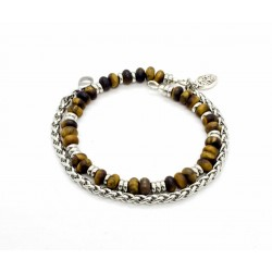 Matte Tiger Eye and Wheat Chain Bracelet