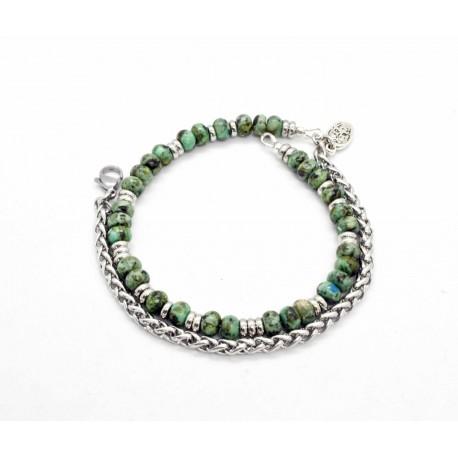 Bracelet Turquoise Africaine et chaine de blé