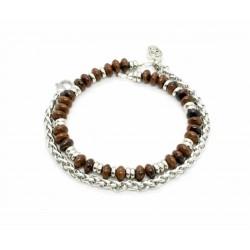 Bracelet Obsidienne Acajou et chaine de blé
