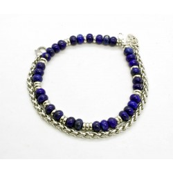 Lapis Lazuli and wheat chain bracelet