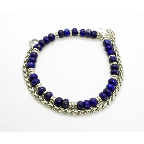 Bracelet double Onyx noir mat et tête de mort argentée