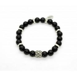 Glossy black Onyx and braided bead bracelet