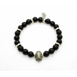 Bracelet Onyx brillant et Indian skull
