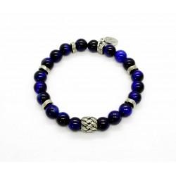 Bracelet Oeil tigre bleu et perle tressée