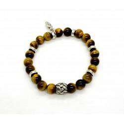 Bracelet Oeil de tigre et perle tressée