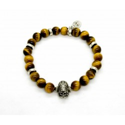 Bracelet Oeil de tigre et Indian skull