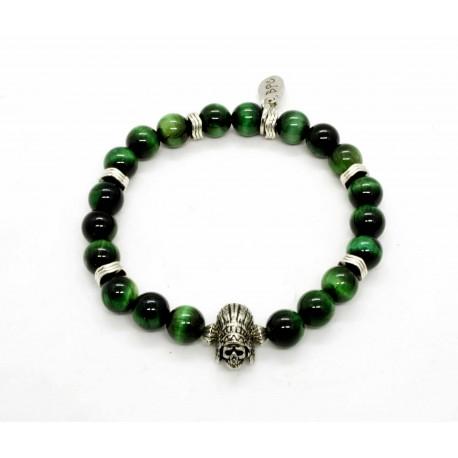 Bracelet Oeil de tigre vert et Indian skull
