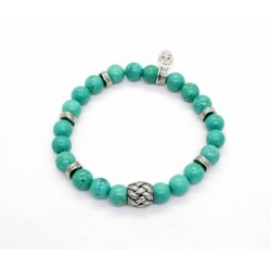 Magnesite turquoise and braided bead bracelet