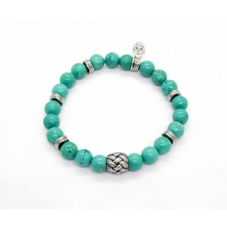 Bracelet Magnesite turquoise et perle tressée
