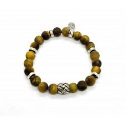 Bracelet Oeil tigre mat et perle tressée