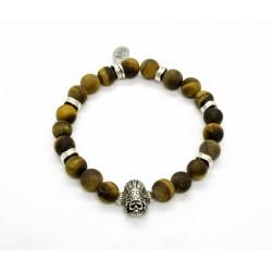 Bracelet Oeil tigre mat et Indian skull