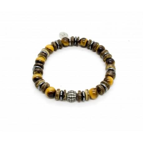 Bracelet Oeil tigre et bois de coco