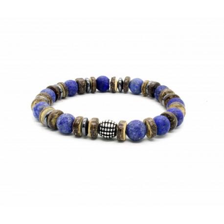 Bracelet lapis Lazuli et bois de coco