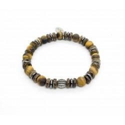 Bracelet Oeil tigre mat et bois de coco