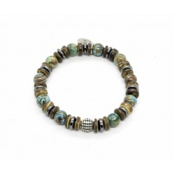 Chrysocolla and coconut wood Bracelet