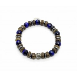 Blue tiger eye and coconut wood bracelet