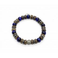 Bracelet Oeil de tigre bleu et bois de coco