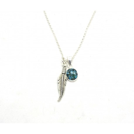 Collier argent Turquoise ovale Carico Lake et plume