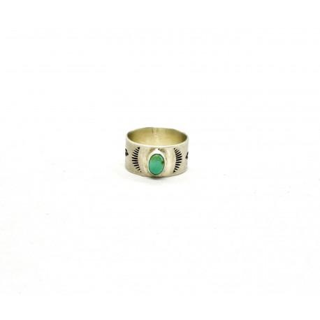 Bague native style argent 950 et turquoise