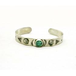 Bracelet jonc native argent 950 et turquoise