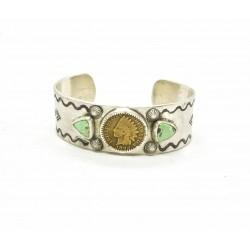 Bracelet cuff native argent 950 et turquoise