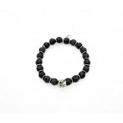 Lava stone and patinated pewter skull bracelet