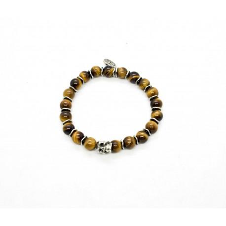 Bracelet Oeil de Tigre, skull étain