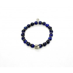 Bracelet Oeil de Tigre bleu, skull étain