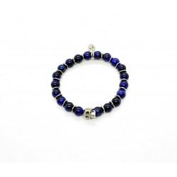 Tiger eye blue and patinated pewter skull bracelet