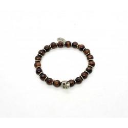Bull eye and patinated pewter skull bracelet