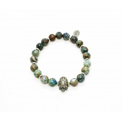 Bracelet Chrysocolle et Indian Skull
