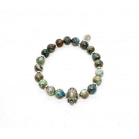 Bracelet Chrysocolle et Indian Skull