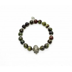 Dragon Jasper and patinated pewter Indian Skull bracelet
