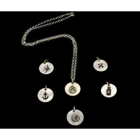 Collier argent Tattoo Sailor style