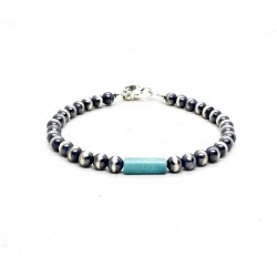 Navajo silver and turquoise beads bracelet