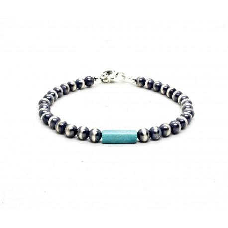 Bracelet perles Navajo argent et turquoise