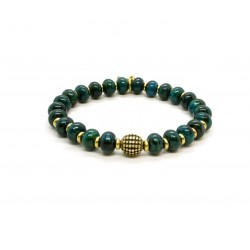 Chrysocolla bead and brass bracelet