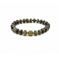 Labradorite bead and brass bracelet