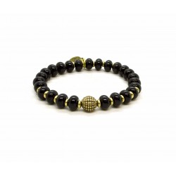 Black Onyx bead and brass bracelet