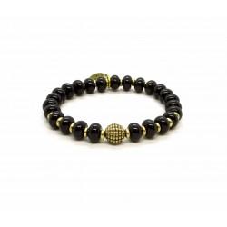 Bracelet perle Onyx noir et laiton