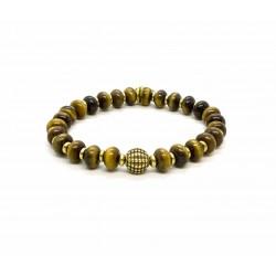 Bracelet perle Oeil de tigre et laiton