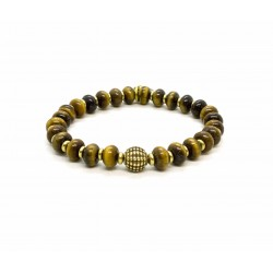 Tiger eye bead and brass bracelet