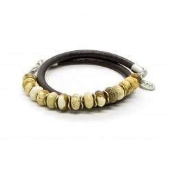 Bracelet double perle Jaspe et cuir