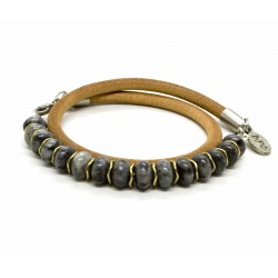 Double Labradorite bead and leather bracelet