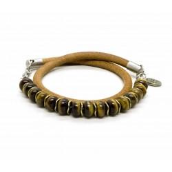 Bracelet double perle Oeil de Tigre et cuir