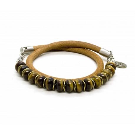 Bracelet bois de santal naturel et tête de mort argenté