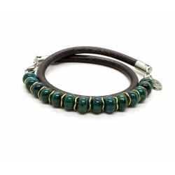 Bracelet double perle Chrysocolle et cuir
